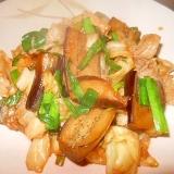 キャベツ、長茄子、豚肉の蒸しコチュジャン炒め