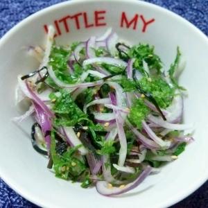 大葉と赤玉ねぎの塩昆布サラダ