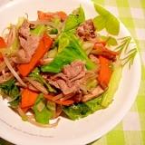 酒盗(しゅとう)で、肉野菜炒め。