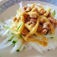 プチ丼♪納豆のマスタードソース丼