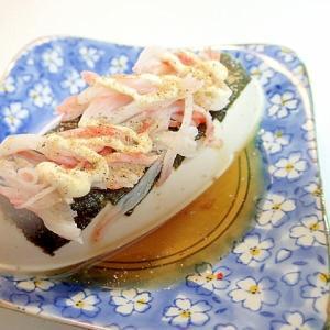 飛魚つゆ/マヨ/魚粉で 海苔とシーサラダの冷奴