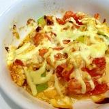 栄養満点☆アボガドとトマトの豆腐マヨソース焼き