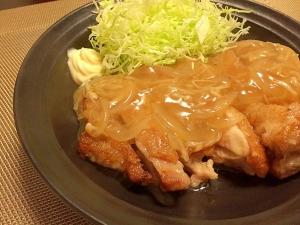 カリカリ鶏肉の生姜焼きあんかけ