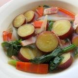 減塩!?薩摩芋&ベーコンの味噌スープ♪(欧風だし)
