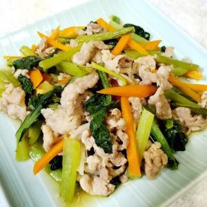 豚肉と小松菜のマーマレード炒め