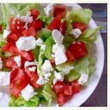 水切りヨーグルトのトマトレタスサラダ