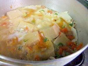 ダブル豆腐で、 野菜たっぷり卵とじ