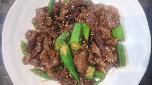 牛肉とオクラのスタミナ甘辛炒め