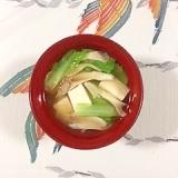 しろ菜、塩とうふ、舞茸のお味噌汁