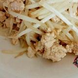 鶏ひき肉ともやしのにんにく醤油炒め