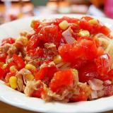 ツナとトマトの冷製パスタ