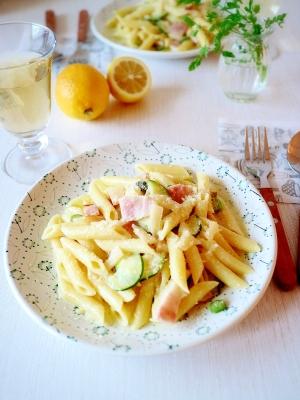 ズッキーニのレモンクリームパスタ
