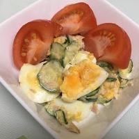 キューリとゆで卵とツナ缶でサラダ