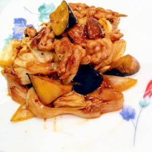 豚モモ肉とナスで黒酢の酢豚風❣