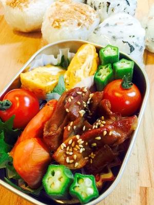 今日のお弁当おかず☆豚肉の甘辛炒め、卵焼き、塩鮭