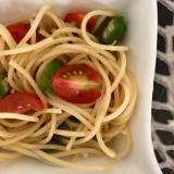 【火不要で弁当穴埋めパスタ】オクラとミニトマト