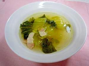 超簡単☆チンゲン菜とベーコンのコンソメスープ