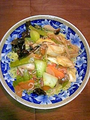節約レシピ☆きぬさやともやしの中華あんかけ焼きそば