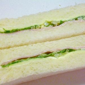簡単♪ハムとスライスチーズと水菜のサンドウィッチ