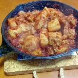 スキレットで豚バラトマト煮込み