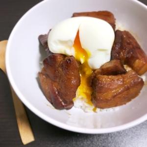 めんつゆで作る!簡単とろとろ豚の角煮丼♡半熟卵のせ