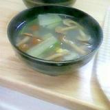 なめことチンゲン菜のとろみしょうがスープ
