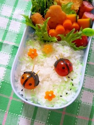 簡単キャラ弁☆プチトマトDEてんとう虫のお弁当♪