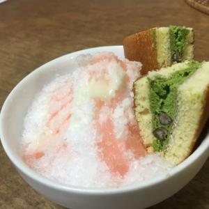 白桃かき氷♡抹茶どら焼き