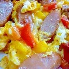 *お弁当おかず*パプリカ&ウインナーの卵焼き♪