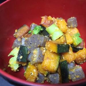5分で簡単料理☆かぼちゃとこんにゃくのごま味噌和え