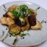 ナスと鶏肉を寿司酢で照り焼き風