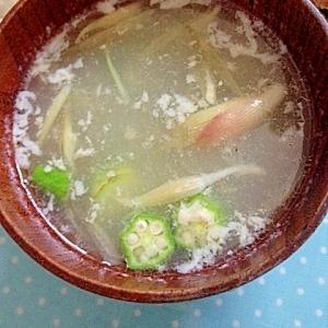 みょうがとオクラの中華スープ
