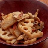 れんこんと長芋、舞茸のにんにくポン酢炒め