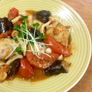 茄子と塩鯖のトマトパッツア風
