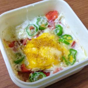 お弁当箱で作る☆ズボラ☆野菜入り目玉焼き