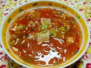 ピリ辛☆春キャベツと春雨スープ