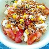 【お手伝いレシピ】納豆の食べ方-クリチトマコーン♪