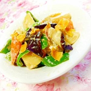 ❤茄子と馬鈴薯&人参&ピーマンドリトス・マヨ炒め❤