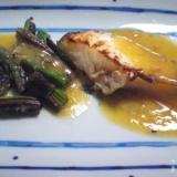 オリーブ油味噌ソースで☆たらとアスパラガスのソテー