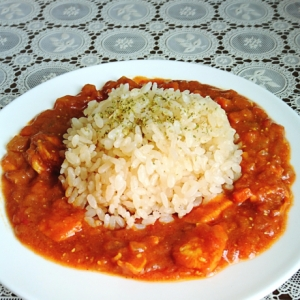 おうちカフェ♪完熟トマトのチキンカレー