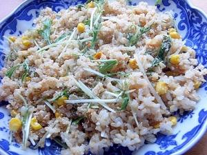 調味料&まな板なし!5分❤水菜の明太子チャーハン♪