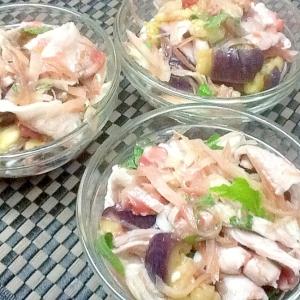 茄子と豚バラ肉の梅酢和え