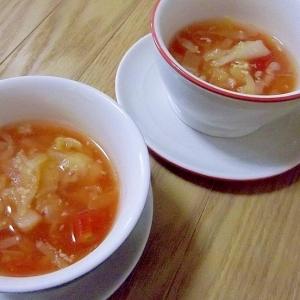 ノンオイルでヘルシー♪きゃべつとツナのトマトスープ