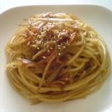 残ったきんぴらごぼうでスパゲティ