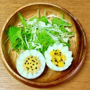 ゆで卵と水菜とコーンのサラダ