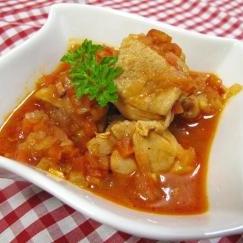 鶏もも肉のトマト煮込み☆ミックス野菜ソース☆