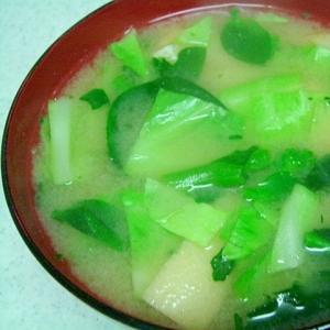 春キャベツと菜の花とアゲの味噌汁