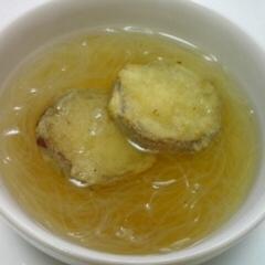 サツマイモの天ぷらのせ春雨のスープ