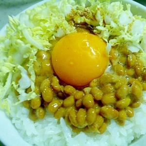 簡単♪アレンジ♪たっぷり白菜の納豆たまごかけご飯