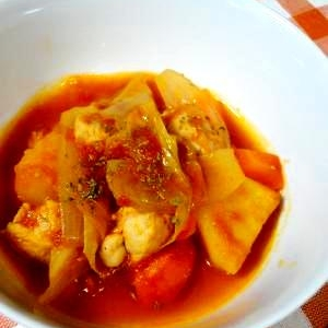 【基本】鶏むね肉のトマト煮込み
